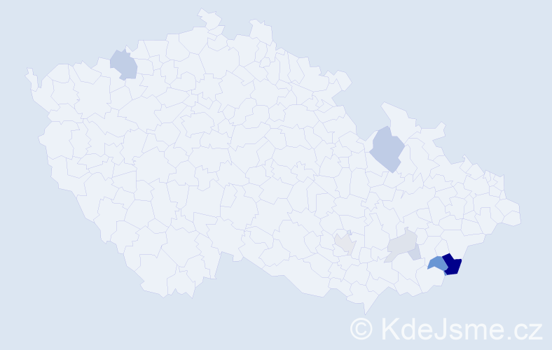 Příjmení: 'Hošíková', počet výskytů 23 v celé ČR