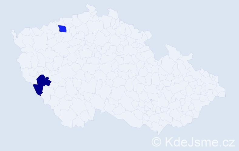 Příjmení: 'Houzáková', počet výskytů 2 v celé ČR