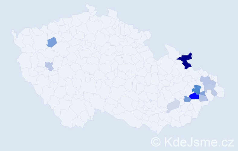 Příjmení: 'Korabečný', počet výskytů 38 v celé ČR
