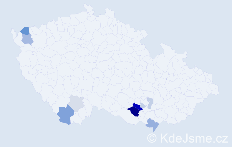 Příjmení: 'Čudan', počet výskytů 17 v celé ČR