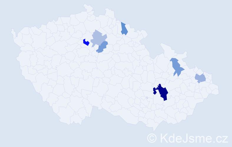 Příjmení: 'Bridzik', počet výskytů 16 v celé ČR