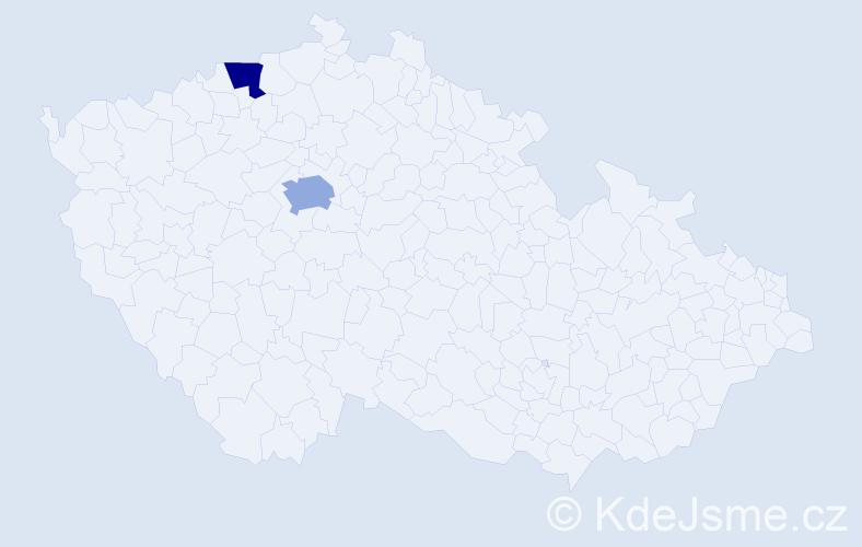 Příjmení: 'Ignatěnko', počet výskytů 5 v celé ČR