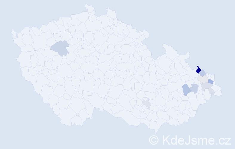 Příjmení: 'Barvenčík', počet výskytů 16 v celé ČR