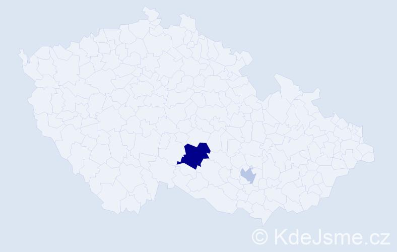 Příjmení: 'Lenghardová', počet výskytů 4 v celé ČR