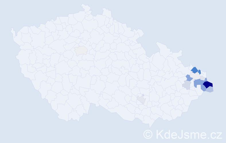 Příjmení: 'Gorný', počet výskytů 50 v celé ČR