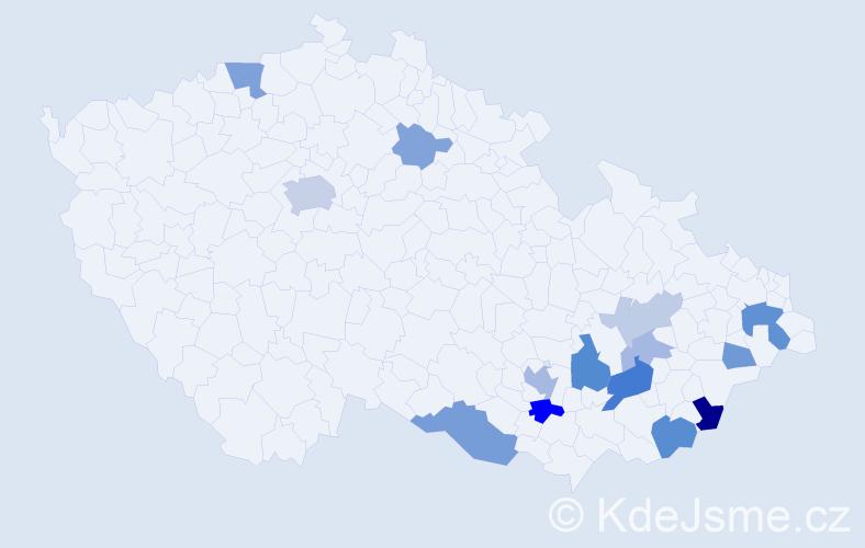 Příjmení: 'Dobíšek', počet výskytů 30 v celé ČR