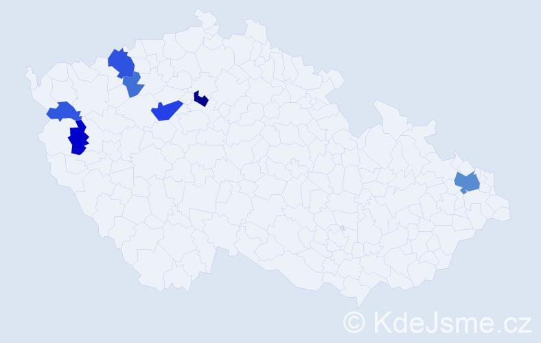 Příjmení: 'Jančatová', počet výskytů 18 v celé ČR
