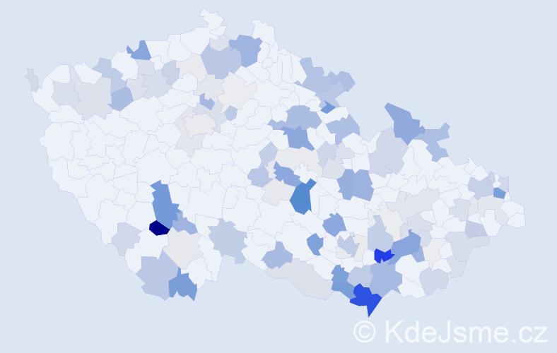 Příjmení: 'Danihel', počet výskytů 419 v celé ČR