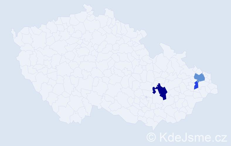 Příjmení: 'Halajko', počet výskytů 7 v celé ČR