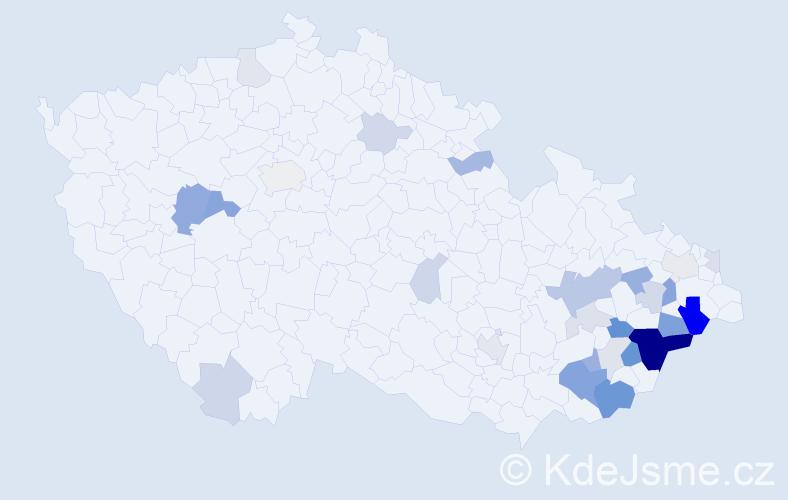 Příjmení: 'Čaníková', počet výskytů 75 v celé ČR