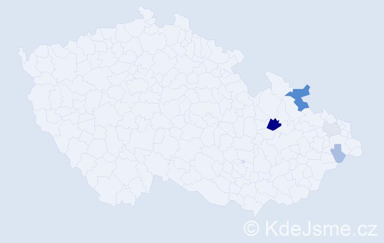 Příjmení: 'Ivanecká', počet výskytů 16 v celé ČR