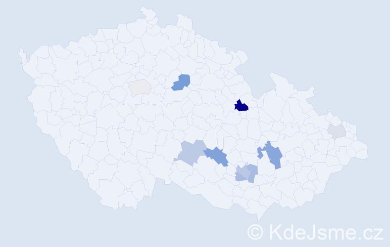Příjmení: 'Hikeš', počet výskytů 14 v celé ČR
