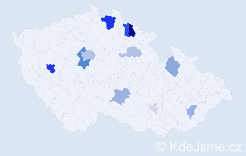 Příjmení: 'Berisha', počet výskytů 28 v celé ČR