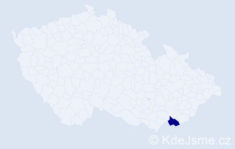 """Příjmení: '""""Bačíková Kovaříková""""', počet výskytů 1 v celé ČR"""