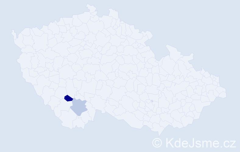 Příjmení: 'Iral', počet výskytů 24 v celé ČR