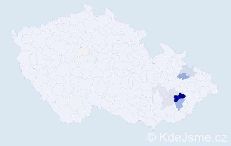 Příjmení: 'Cápíková', počet výskytů 26 v celé ČR