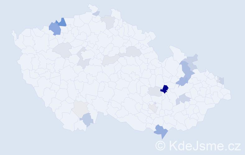 Příjmení: 'Barkoci', počet výskytů 57 v celé ČR