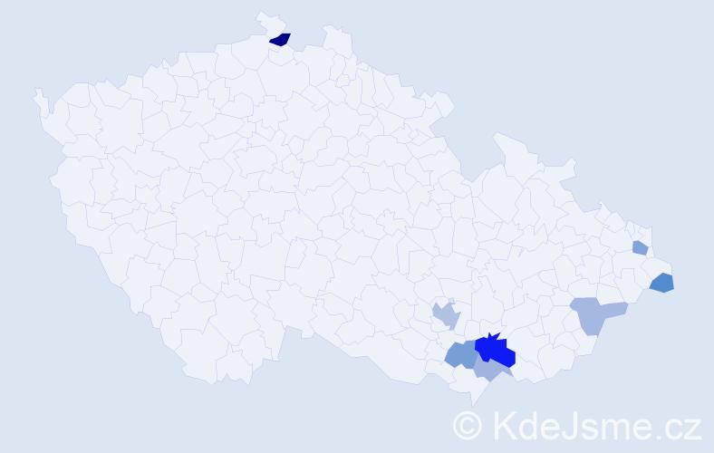 Příjmení: 'Kontárová', počet výskytů 15 v celé ČR