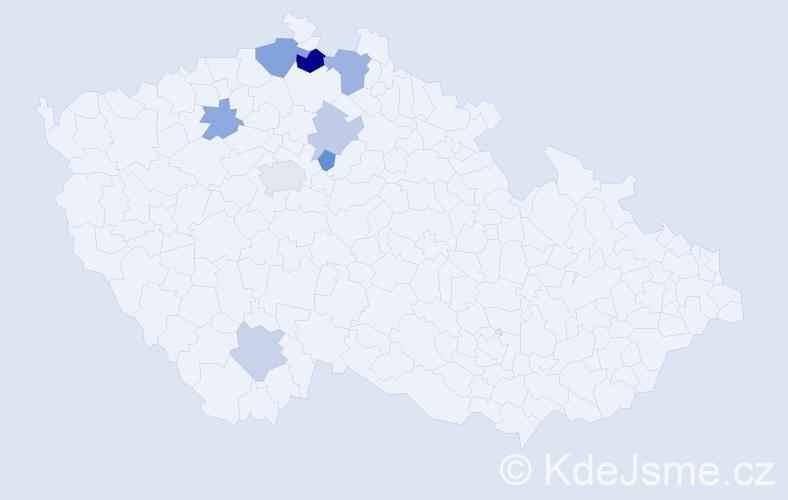 Příjmení: 'Beláz', počet výskytů 13 v celé ČR