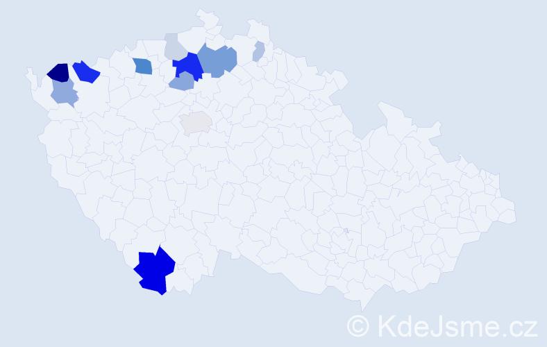 Příjmení: 'Iserová', počet výskytů 31 v celé ČR