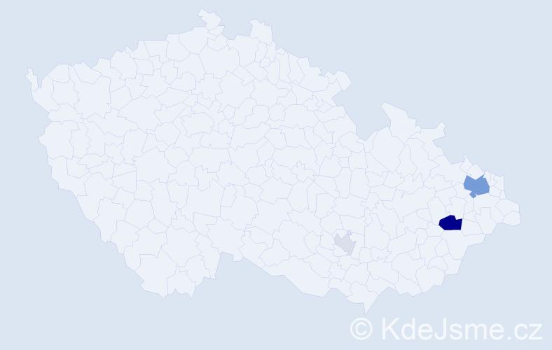 Příjmení: 'Čaputová', počet výskytů 11 v celé ČR