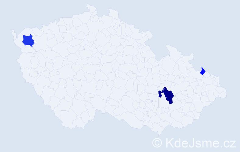 Příjmení: 'Ernek', počet výskytů 9 v celé ČR