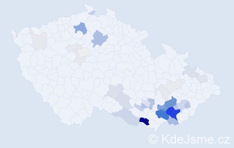 Příjmení: 'Křemeček', počet výskytů 118 v celé ČR