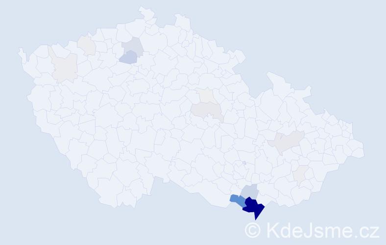 Příjmení: 'Grbavčicová', počet výskytů 92 v celé ČR