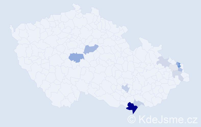 Příjmení: 'Bartošicová', počet výskytů 29 v celé ČR
