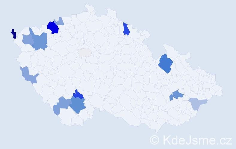 Příjmení: 'Kerekaničová', počet výskytů 34 v celé ČR