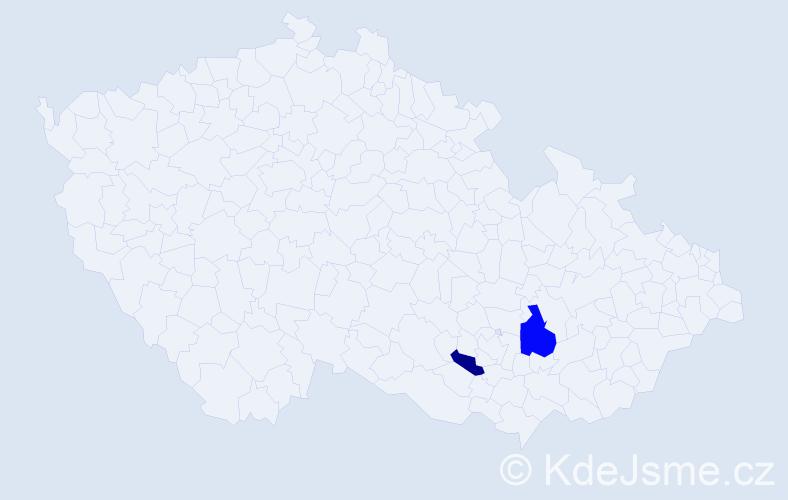 Příjmení: 'Hádra', počet výskytů 8 v celé ČR