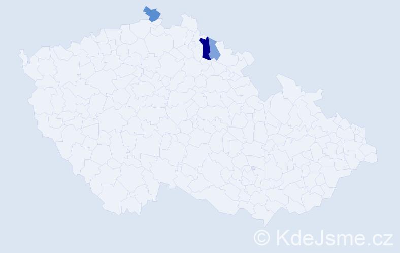 Příjmení: 'Čechotovský', počet výskytů 6 v celé ČR