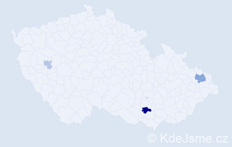 Příjmení: 'Hadji', počet výskytů 6 v celé ČR