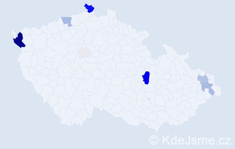 Příjmení: 'Hadvigová', počet výskytů 13 v celé ČR