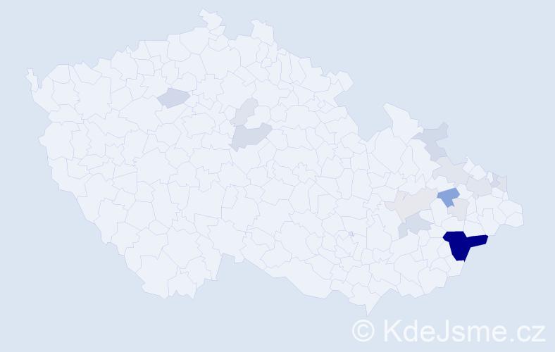 Příjmení: 'Čablík', počet výskytů 77 v celé ČR