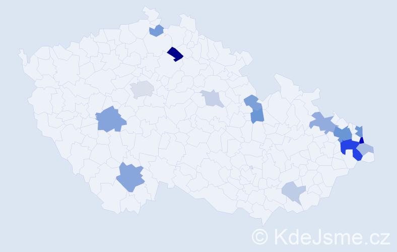 Příjmení: 'Cebula', počet výskytů 41 v celé ČR