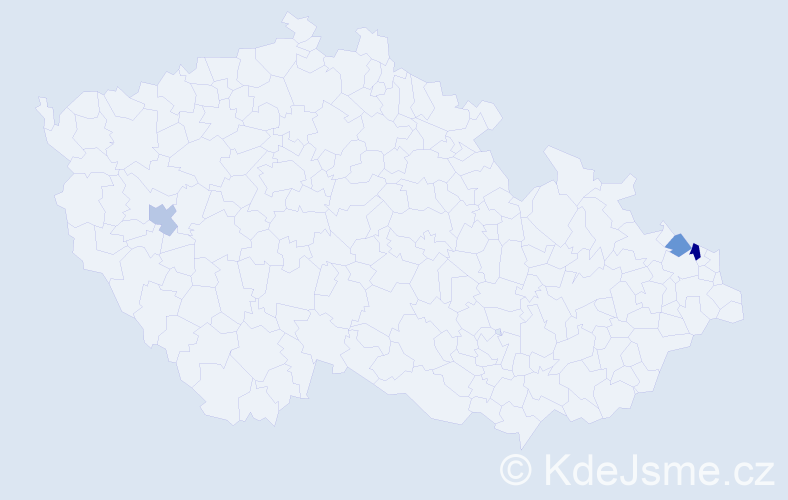 Příjmení: 'Cader', počet výskytů 4 v celé ČR