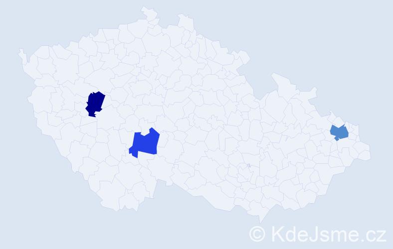 Příjmení: 'Kolenička', počet výskytů 4 v celé ČR