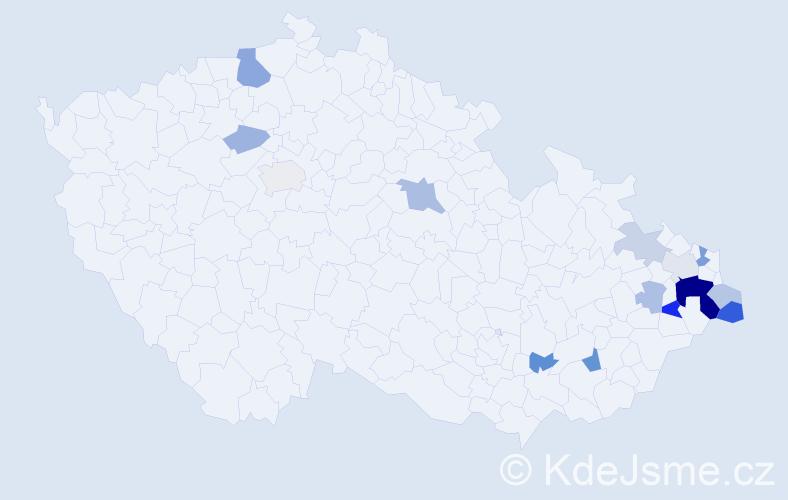 Příjmení: 'Habrnál', počet výskytů 33 v celé ČR