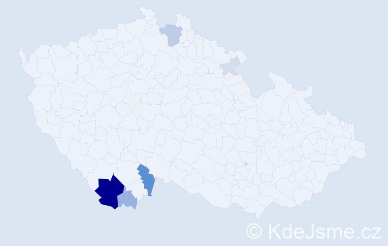 Příjmení: 'Biňovská', počet výskytů 20 v celé ČR
