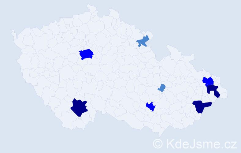 Příjmení: 'Egger', počet výskytů 17 v celé ČR