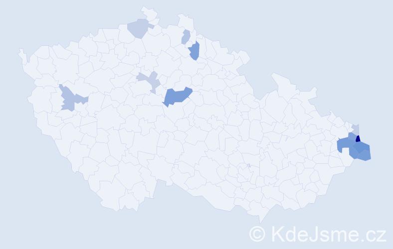 Příjmení: 'Kral', počet výskytů 24 v celé ČR