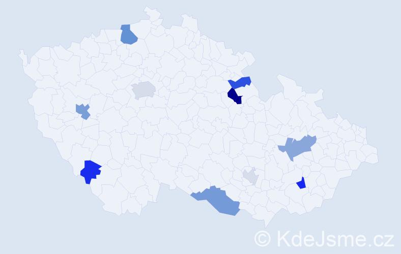 Příjmení: 'Laluhová', počet výskytů 20 v celé ČR