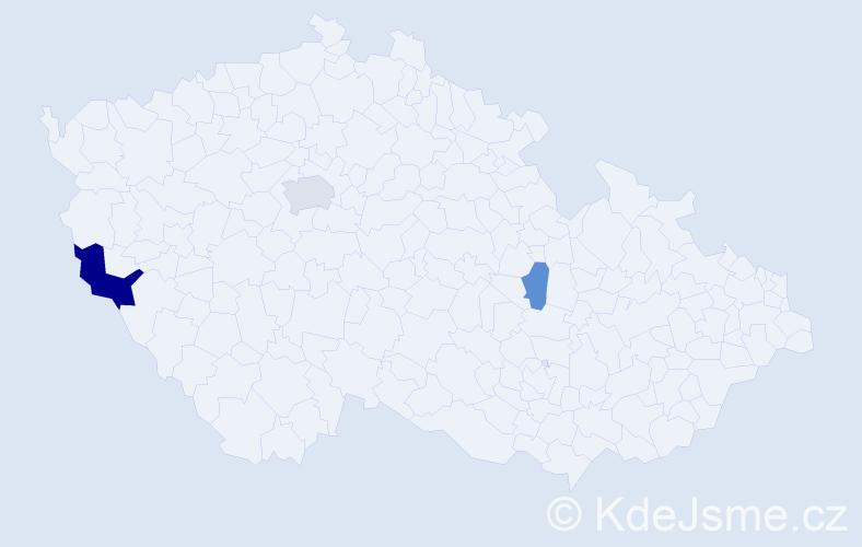 Příjmení: 'Čisárik', počet výskytů 6 v celé ČR