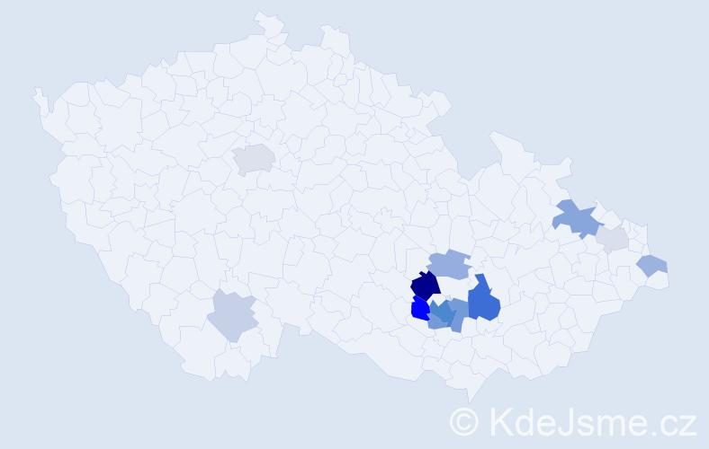 Příjmení: 'Koumal', počet výskytů 31 v celé ČR
