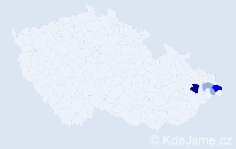 Příjmení: 'Hadida', počet výskytů 7 v celé ČR