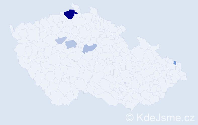 Příjmení: 'Kobercová', počet výskytů 18 v celé ČR