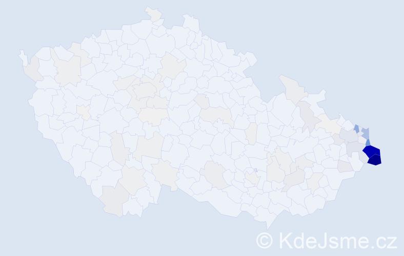 Příjmení: 'Cieslarová', počet výskytů 522 v celé ČR
