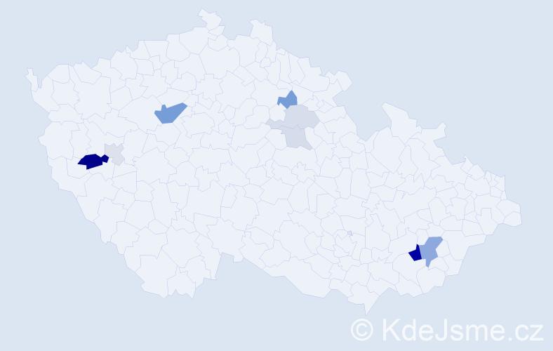 Příjmení: 'Kadrle', počet výskytů 22 v celé ČR