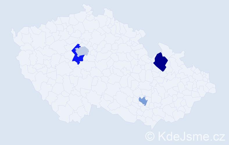 Příjmení: 'Gribovská', počet výskytů 4 v celé ČR